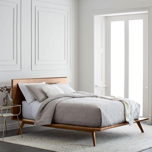 Mid Century Platform Bed Walnut, Platform Bed Bedding