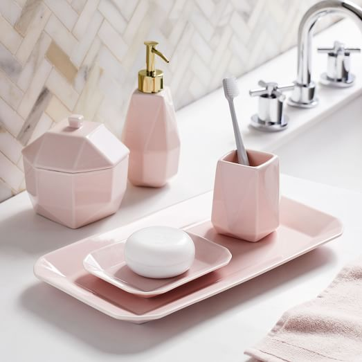 Faceted Porcelain Bathroom Accessories Pink