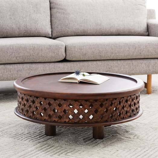 Carved Wood Coffee Table, Hand Carved Wood Furniture India