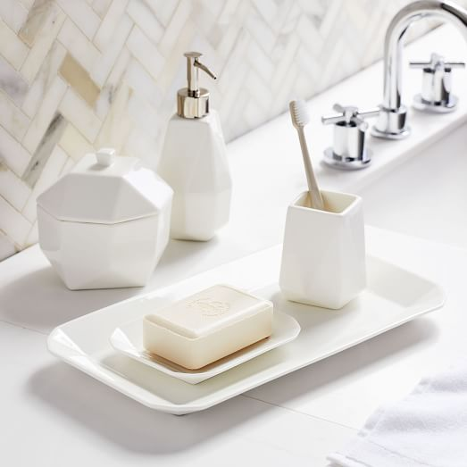 Faceted Porcelain Bathroom Accessories White
