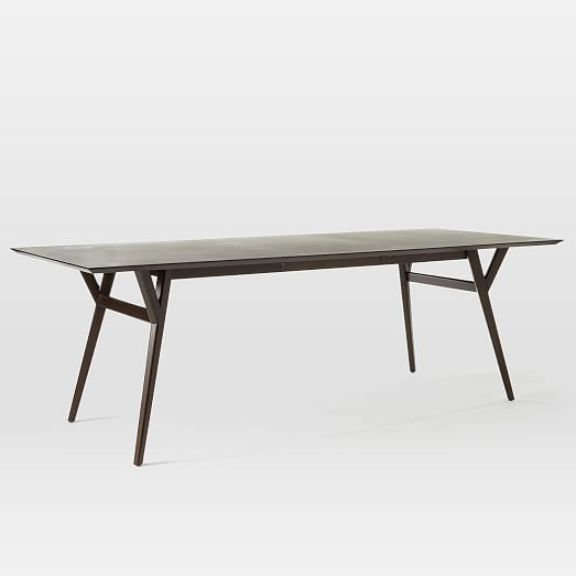 Mid Century Expandable Dining Table Dark Mineral