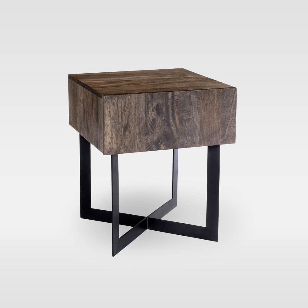 Modern Solid Wood Iron Side Table