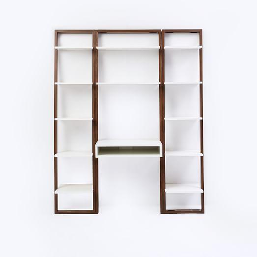 Ladder Shelf Desk Narrow Bookshelf Set, Ladder Shelf Storage Desk