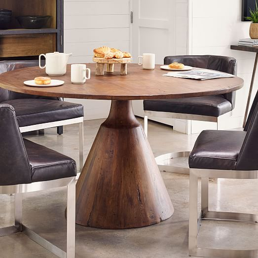 Reclaimed Wood Pedestal Dining Table, Round Reclaimed Dining Table