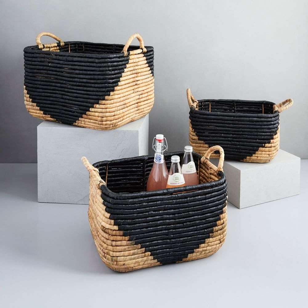 Shop Woven Seagrass Baskets - Natural & Black from West Elm on Openhaus