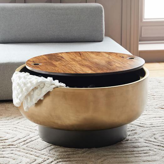 Drum Storage Coffee Table, Round Storage Ottoman Coffee Table