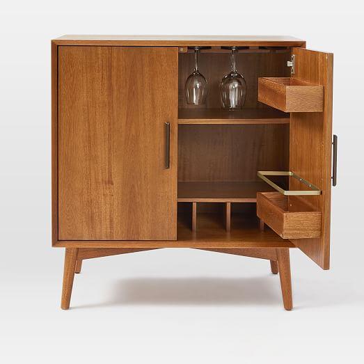 Mid Century Bar Cabinet Small, Small Bar Furniture