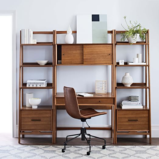 Mid Century Wall Desk Shelf Set Narrow, Desk And Shelves