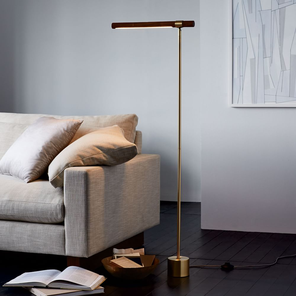 Shop Linear Wood LED Floor Lamp from West Elm on Openhaus