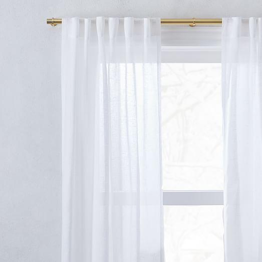 Sheer European Flax Linen Curtain White, Long White Sheer Curtains