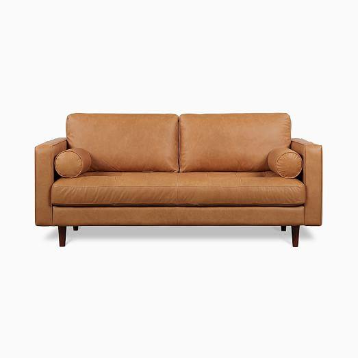 Dennes Leather Sofa, Modern Tan Leather Sofa