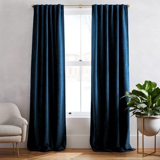 Worn Velvet Curtain Regal Blue, Best Way To Clean Velvet Curtains