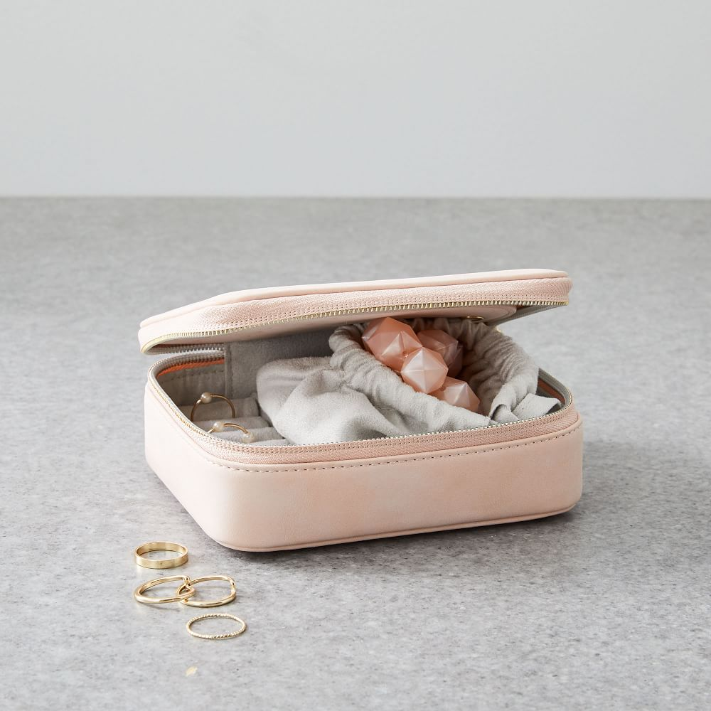 Leather Jewelry Box 2 Layers Travel Case LEATHER FINISH JEWELRY