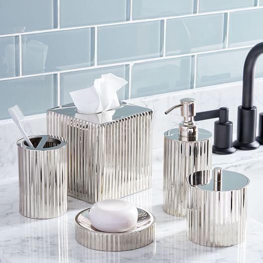Fluted Metal Bath Accessories, Polished Nickel Bathroom Accessories