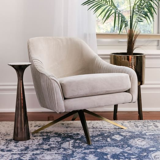 Roar Rabbit Pleated Swivel Chair, Swivel Chairs For Living Room