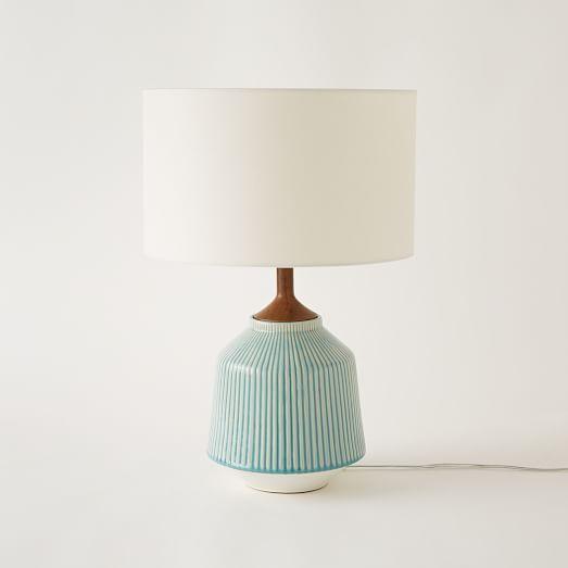 Roar Rabbit Ripple Ceramic Table, Turquoise Ceramic Lamp