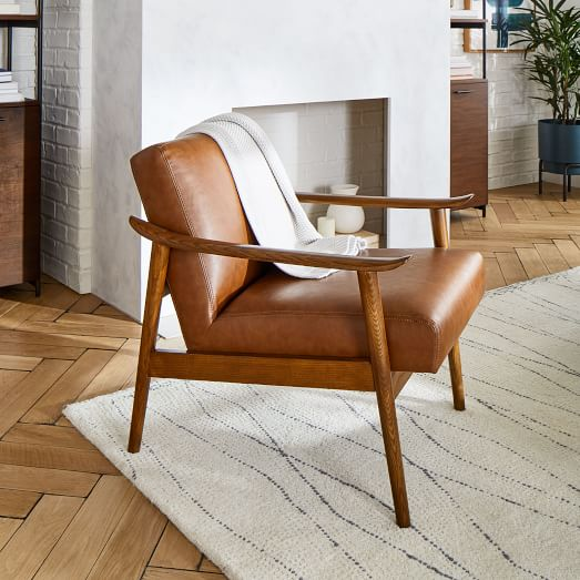 Mid Century Leather Show Wood Chair, Leather Living Room Chair