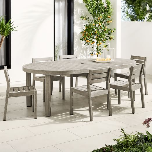 Portside Outdoor Expandable Round, Round Extendable Dining Table Set With 6 Chairs