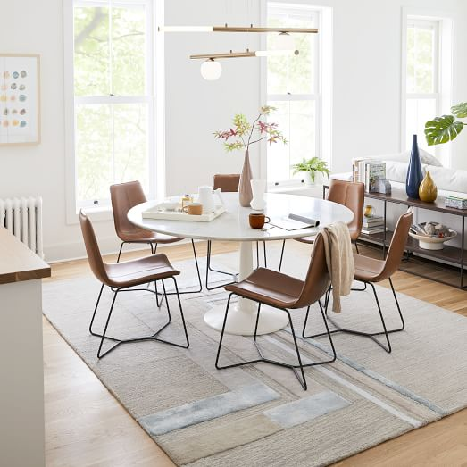 Slope Leather Dining Chair, Leather Dining Room Chair