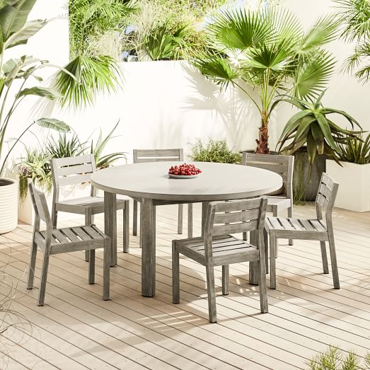 Concrete Outdoor Round Dining Table, Concrete Round Dining Table For 6