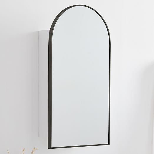 Arched Metal Framed Medicine Cabinet, Metal Framed Recessed Bathroom Medicine Cabinet With Mirror Black